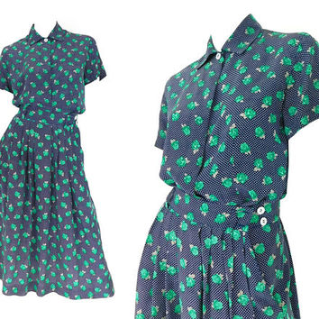 Vintage 80s Silk Blouse / Skirt Set - Women's Jones New York 2 Piece Floral Dress -Petite S/XS -Navy Blue White Swiss Dot Green Rose Print