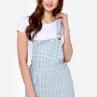 Picnic in the Park Blue Checkered Overalls