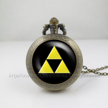 legend of zelda Pocket Watch,Zelda Triforce Pendant Necklace, Golden Power Zelda Link Hyrule Tri Force Locket necklace,Pocket Watch