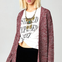 OVERSIZE KNIT CARDI WITH POCKETS - BURGUNDY