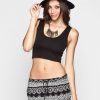 Lily White Womens Textured Crop Tank Black  In Sizes