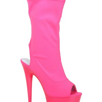 Hot Pink Platform Ankle Stripper Boots
