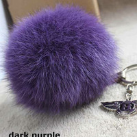 Deep Purple Fox Fur Pom Pom luxury bag pendant with leather strap metal buckle key ring chain bag charm