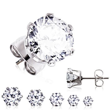 Pair of 316L Surgical Steel Clear Round CZ Stud Earrings