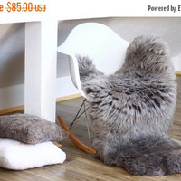 AUTUMN SALE - 5% WOW! Large Genuine Natural rare, unique Sheepskin Rug, Pelt, soft, super thick fur Xxl Gray Ash