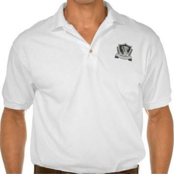 Rottweiler Head Laurel Leaves Crest Black and Whit Polo Shirt