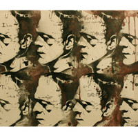 MONSTERSPEAK Frankenstin Portrait 24 x 30 Vintage Hollywood Monster Original Painting Graffiti Pop Art Street Art Inspired Artwork on Canvas