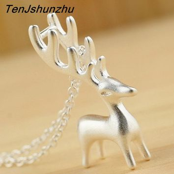 Sterling Silver 925 Necklace Deer Antler Pendant