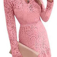 Fashion Cutout Round Neck Long Sleeve Ruffle Hem Lace Party A-Line Dress
