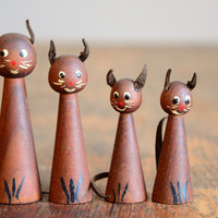 Vintage Danish Teak Cat Family Figurines | Red Line Vintage