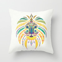 Whimsical Tribal Lion Throw Pillow by Pom Graphic Design