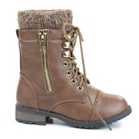 Mango31k Brown By Link, military combat lace up sweater cuff w lug sole children size