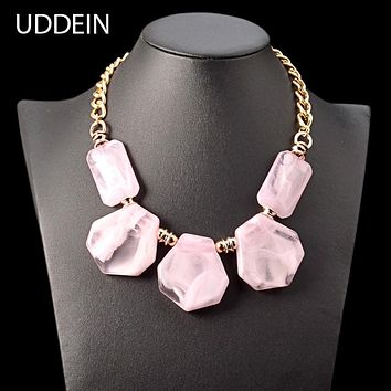Bohemian Pink Resin Gem Necklace Women Nigerian Wedding Indian Jewelry Statement Choker Necklace & Pendant