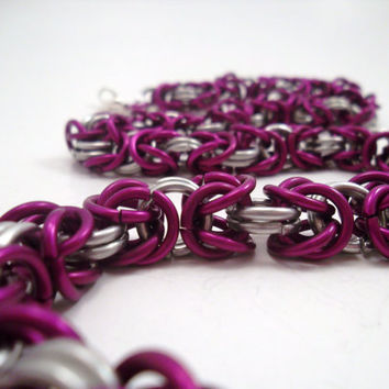 Chainmail Necklace Purple and Silver Byzantine by SerenityInChains