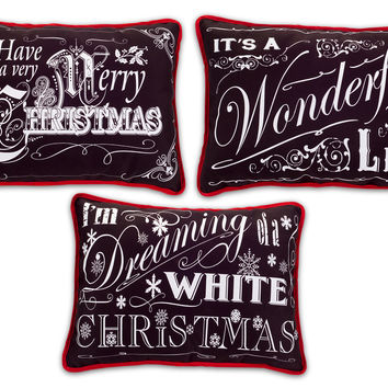 Jolly Holidays Collection Chalkboard Pillows (Set of 3)