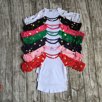 free shipping girls clothes raglan tops girls casual tops 7 color gold polka dot girls Autumn top girls icing raglans t shirt