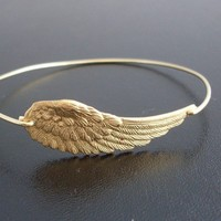 Angel Wing Bracelet, Angel Wing Jewelry, Angel Wing Bangle Bracelet, Angel Bracelet, Gold Bracelet, Gold Bangle Bracelet, Angel Jewelry
