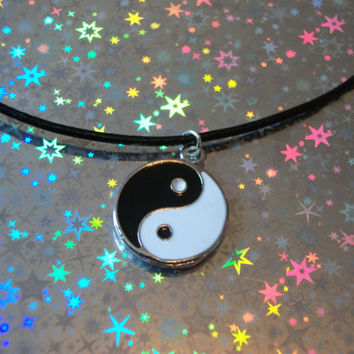 FREE SHIPPING Yin Yang Charm Necklace, Black Cord Grunge Necklace, Goth Necklace