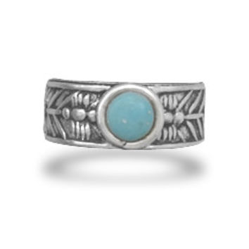 Oxidized Toe Ring with Simulated Turquoise