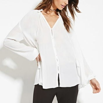 Contemporary Button-Front Tasseled Blouse