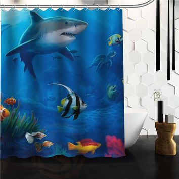New Arrival Vintage Design Bathroom Product Print Marine Life Under the Sea Polyester Shower Curtain For Kids150x180cm 120x180cm