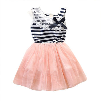 Kids Baby Girls Stripe Lace Tutu Dress Brace Bowknot Ruffle Tulle Baby One-piece Dresses 2-6Years SM6