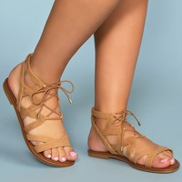 Quinn Lace Up Sandals - Tan