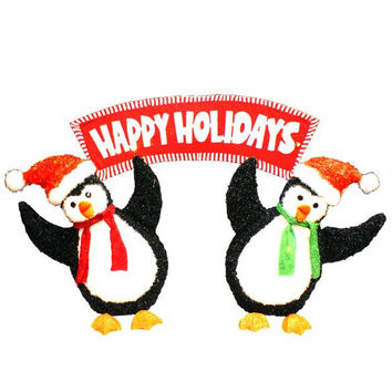 Penguin Christmas Yard Art - 60 Clear Mini Lights