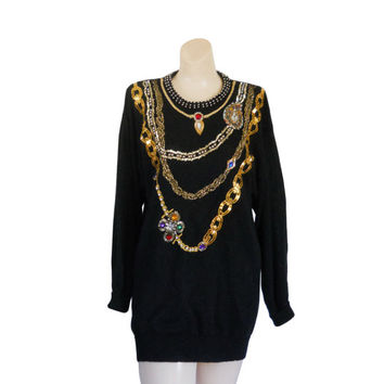 80s Sweater Hipster Sweater Black Sweater Bejeweled Bedazzled Studded Shirt Baroque Shirt Long Sweater Dress Women Sweater Pullover Sweater