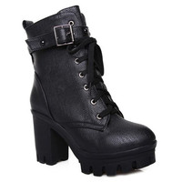 Black Lace Up Boots With Buckle Design