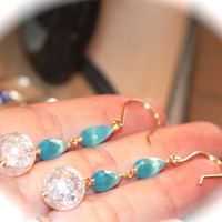 14k Gold Filled Teal Blue Long Dangle Earrings, Eloquent