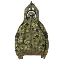 BAPE SHARK Fashion Casual Long Sleeve Sweater Zipper Hoodie