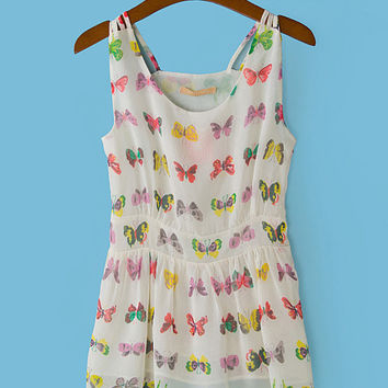 Butterfly Print Chiffon Sleeveless Pleated Top