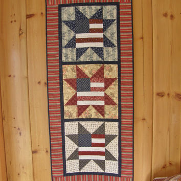 4th of July Wall Hanging - Rustic Patriotic Americana Quilt