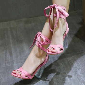 Fashion women crystal Transparent thick heels pink lace up sandals shoes