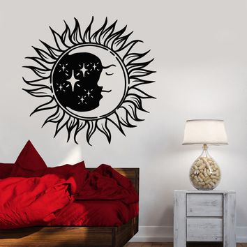 Vinyl Wall Decal Sun Moon Night Bedroom Design Symbol Stickers Unique Gift (798ig)