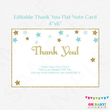 Twinkle Twinkle Little Star Thank you Card Flat Note Card Editable Card Blue and Gold Baby Shower Boy, Printable Thank Yous, Download STBG