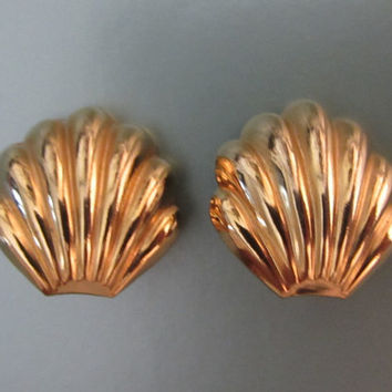 Goldtone Large Shells With High Polish Earrings