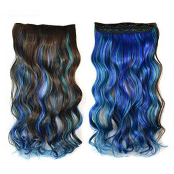 Five Cards Hair Extension Long Curled Hair Wig  19