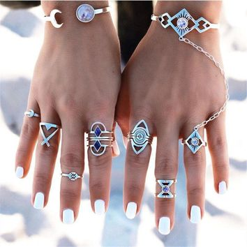 Bohemian Vintage Silver Stack Rings - Above Knuckle Blue Rings Set