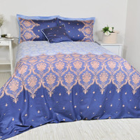 Navy, Baby Blue Damask Bedding Set in Full Queen King, Damask Print Cotton Sateen Moroccan Style, Boho Bedding, 6 pc Duvet Cover & Sheet Set