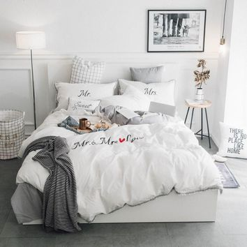 Cool White Grey Pink 100%Cotton Embroidery Bedding Set Twin Queen King size Duvet Cover Bed/Fit sheet set Pillowcase Soft BedclothesAT_93_12