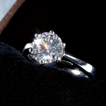 14K White Gold 2CT Round Cut Moissanite Diamond Solitaire Engagement Ring