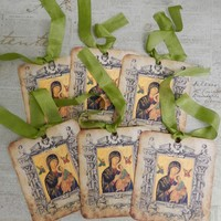 Greek Orthodox Icon Gift Tags Virgin Mary Gift Tags Religious Tags Handmade
