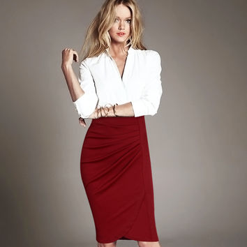 Vfemage Women Elegant Vintage Pleated Frill Ruched High Waist Business Casual Wear To Work Office Party Pencil Sheath Skirt 2220