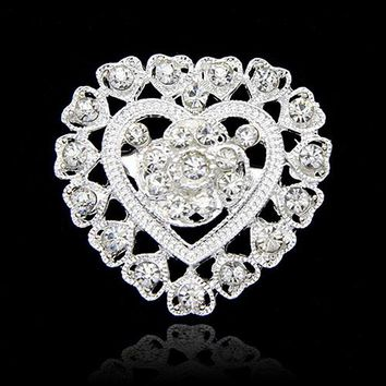 Bluelans Flower Heart Rhinestone Silver Plated Brooch Pin Wedding Bridal Broach Breastpin