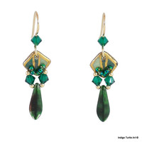 Swarovski crystals in shades of green & gold filled beads drip from the lower edge of these petite porcelain earrings.