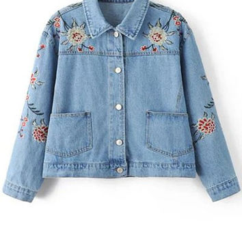 Wide Waisted Embroidered Collared Denim Blue Jacket
