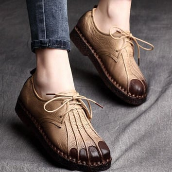 2016 Handmade Leather Retro Lace Up Flats Shoes,Black/Purple/Brown Flats,Soft bottom flat casual shoes