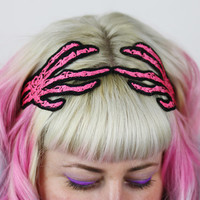 Skeleton Hands Headband, Women, Wired Hair Band, White, Neon Pink or Neon Green